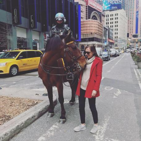 Of course my favorite part of New York was meeting a real police horse.
